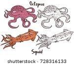 ocean monsters. octopus and... | Shutterstock .eps vector #728316133