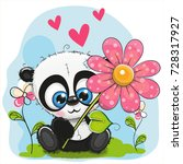 greeting card cute panda with... | Shutterstock .eps vector #728317927