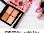 cosmetic makeup products on... | Shutterstock . vector #728335117
