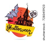halloween hand drawn  doodle... | Shutterstock .eps vector #728345923