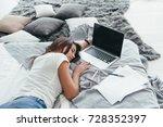 beautiful young woman working... | Shutterstock . vector #728352397