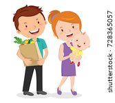 family after shopping for... | Shutterstock .eps vector #728365057