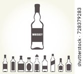 row of icons of alcohol bottels ... | Shutterstock .eps vector #728379283