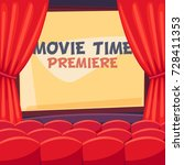 open curtains for film premiere | Shutterstock .eps vector #728411353