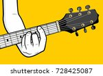 guitar player hand playing b... | Shutterstock .eps vector #728425087