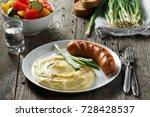 rural dinner. mashed potatoes... | Shutterstock . vector #728428537