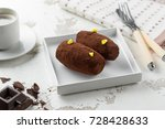 cakes rum ball in a white plate ... | Shutterstock . vector #728428633