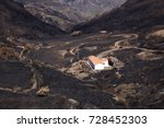 Small photo of Gran Canaria, Las Cumbres, the highest areas of the island, after forest fire of september 2017, burned area around the start of Barranco de La Mina ravine, white house stand unaffected
