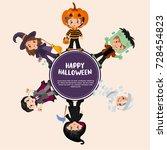halloween greeting card design. ... | Shutterstock .eps vector #728454823