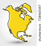 yellow outline map of north... | Shutterstock .eps vector #728465347