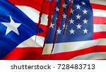 puerto rico and usa flags with... | Shutterstock . vector #728483713
