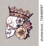 beautiful romantic skull with... | Shutterstock .eps vector #728488987