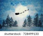 Santa With Sleigh And Reindeer...