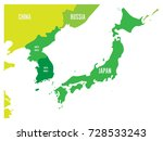 political map of korean and... | Shutterstock .eps vector #728533243