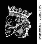 beautiful romantic skull with... | Shutterstock .eps vector #728534497