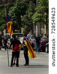 Small photo of Barcelona, Catalunya, Spain - OCTOBER 03, 2017. Pacific protest against the law enforcement violence during the referendum of catalunya