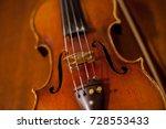 violin on wooden background. ... | Shutterstock . vector #728553433