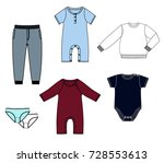 newborn clothes set | Shutterstock .eps vector #728553613
