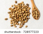 Pile Of Soya Beans With Wooden...