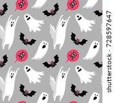 halloween seamless pattern with ... | Shutterstock .eps vector #728597647