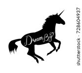 unicorn silhouette with text... | Shutterstock .eps vector #728604937