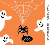 cute spider on web and ghost... | Shutterstock .eps vector #728604943