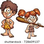 cartoon prehistoric kids.... | Shutterstock .eps vector #728609137