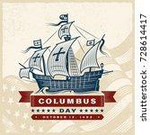 vintage columbus day label.... | Shutterstock .eps vector #728614417
