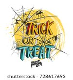 trick or treat halloween poster ... | Shutterstock .eps vector #728617693