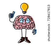 nerd brain with idea cartoon | Shutterstock .eps vector #728617813