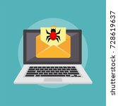 virus on email. email scam.... | Shutterstock .eps vector #728619637