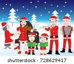 christmas concert with family. | Shutterstock .eps vector #728629417