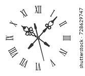 old vintage retro clock face... | Shutterstock .eps vector #728629747