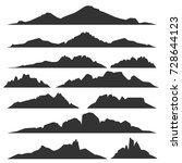 mountain silhouettes overlook.... | Shutterstock .eps vector #728644123