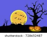 terrible night in the cemetery... | Shutterstock .eps vector #728652487
