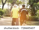 a son take care his father who... | Shutterstock . vector #728685607