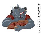 werewolf character with wooden...   Shutterstock .eps vector #728687917