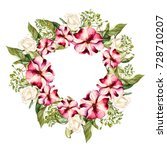 watercolor wreath with flowers...   Shutterstock . vector #728710207