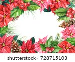 poinsettia plant  holly  red... | Shutterstock . vector #728715103