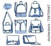 vector set of fashion bags and... | Shutterstock .eps vector #728735467