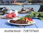 grilled beef meatballs serving... | Shutterstock . vector #728737663