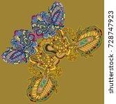 butterfly doodle new design...   Shutterstock .eps vector #728747923