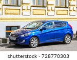Small photo of GORODETS, RUSSIA - JULY 21, 2014: Motor car Hyundai Solaris in the city street.
