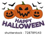 happy halloween   card with... | Shutterstock .eps vector #728789143