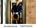 electrician working house...   Shutterstock . vector #728791543
