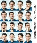 mosaic of man expressing... | Shutterstock . vector #728798887
