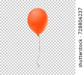 realistic orange balloon... | Shutterstock .eps vector #728806237
