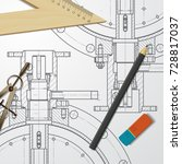 vector technical blueprint of...   Shutterstock .eps vector #728817037