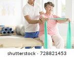 elderly woman doing active pnf... | Shutterstock . vector #728821453