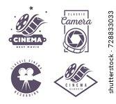 cinema labels emblem logo...   Shutterstock .eps vector #728833033